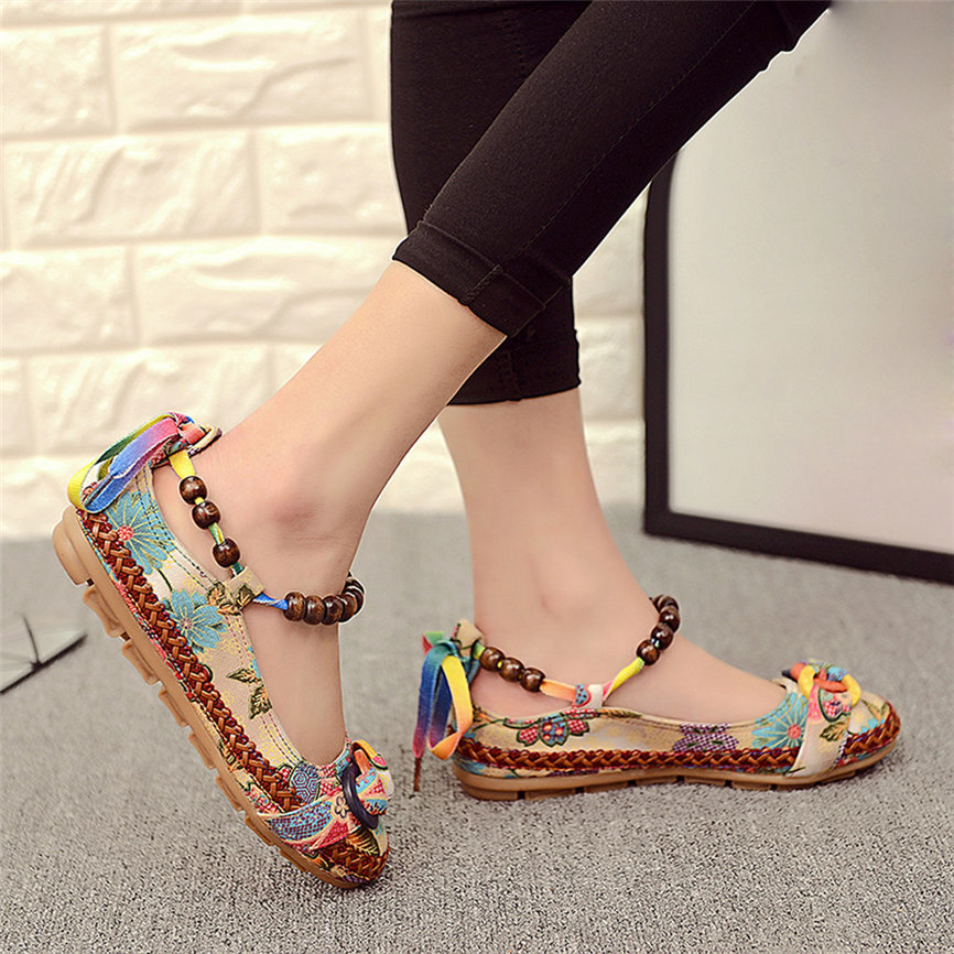 Women Shoes Ethnic Colorful Casual for M18 -30 Beading Round-Toe Embroidered Cotton