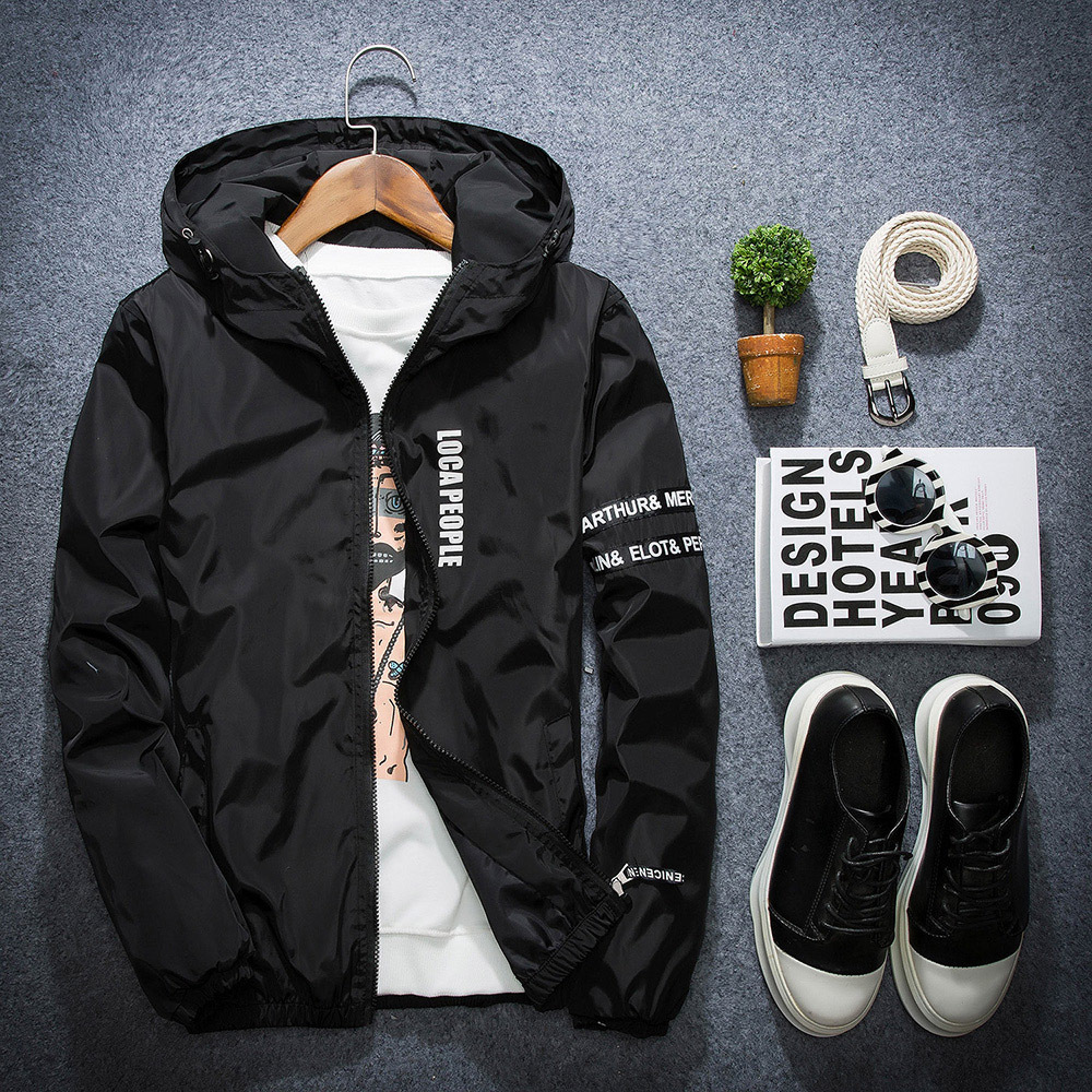 HTB1wrwieHZnBKNjSZFGq6zt3FXaa AFS JEEP Spring Autumn Thin Windbreaker Jacket Men Plus Size M-4XL jaqueta masculina Slim Fit Young Men Hooded bomber jacket men