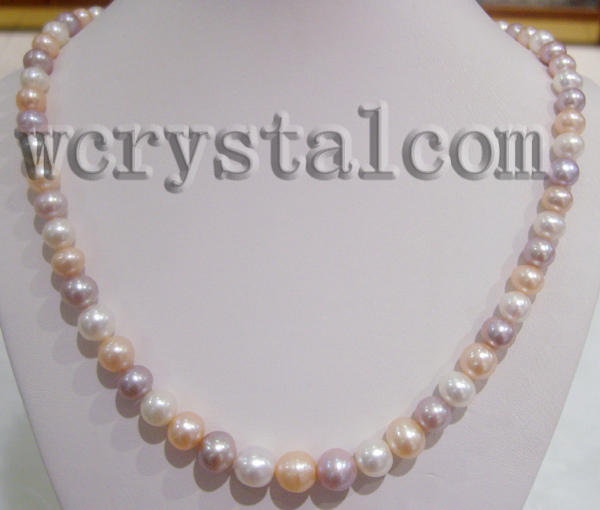 Round Graduated Real Multi Colored Cultured Pearls Necklace Sterling Silver