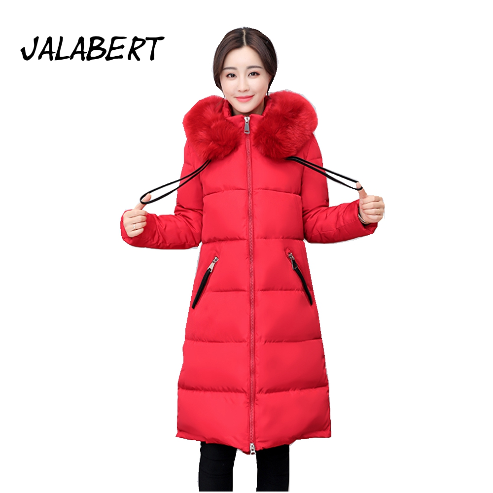 2017 winter new women large fur collar thicker down cotton jacket Female midties long hooded thin parka warm coat winter new down jacket women 2017 oversized luxury fur collar thicker coat in the long section of 20 30 40 years old