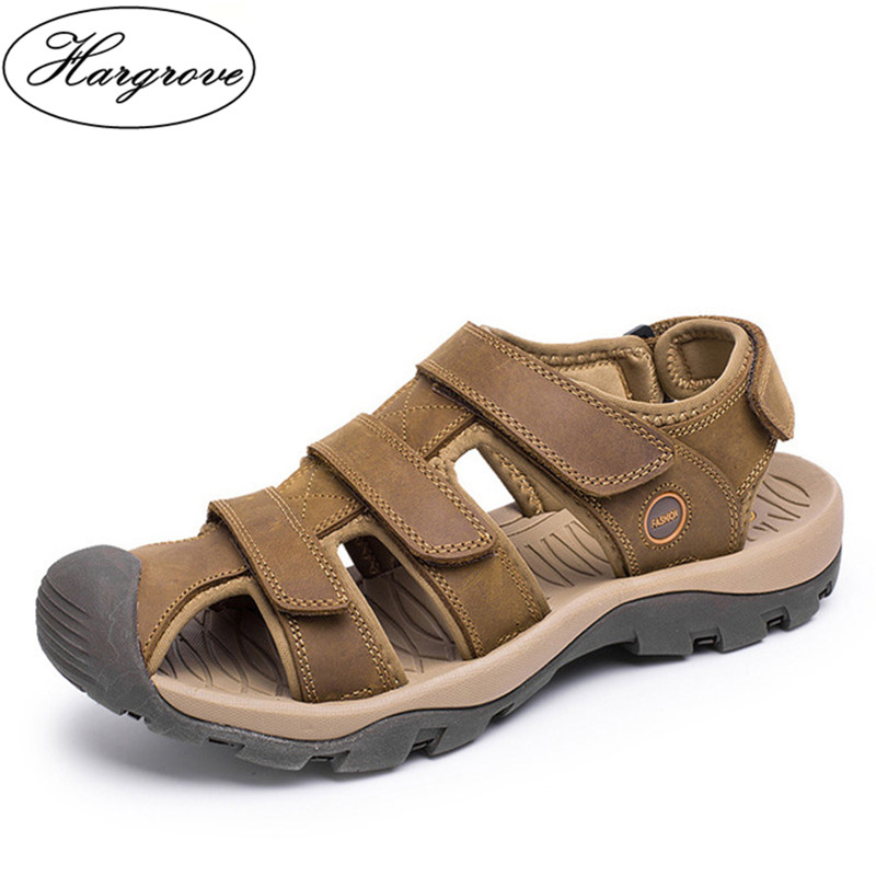 Hargrove Brand New High Quality Men Genuine Leather Sandals Breathable Comfortable Cozy Summer Shoes Fashion Flat Male Sandals