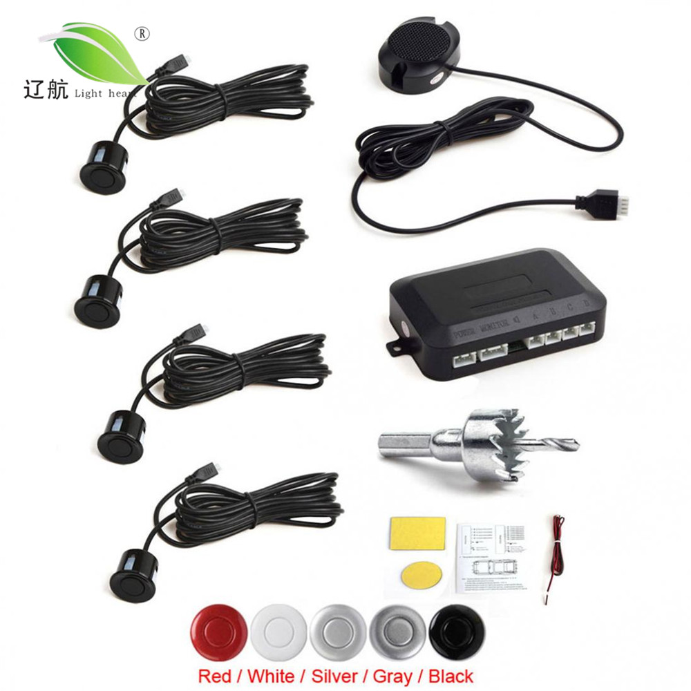 Licht Herz 4 Sensoren Summer Parkplatz Sensor System mit Akustischer Alarm/Wasserdicht, Zurück Auto Assistent