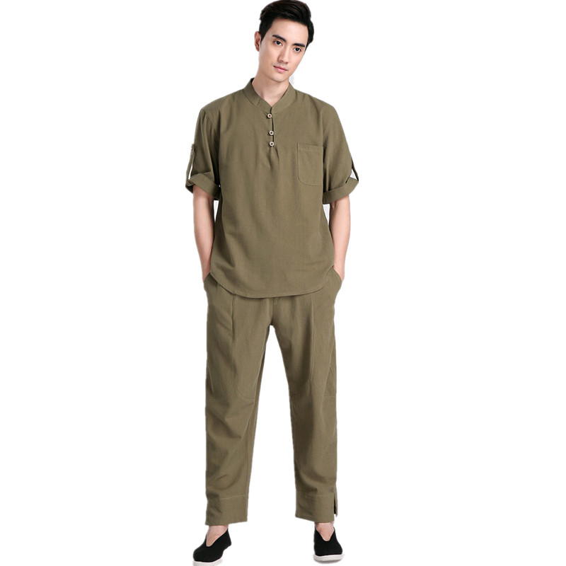 New Arrival Green Chinese Men Kung fu Uniform Cotton Tai Chi Suit Vintage Button Clothing M
