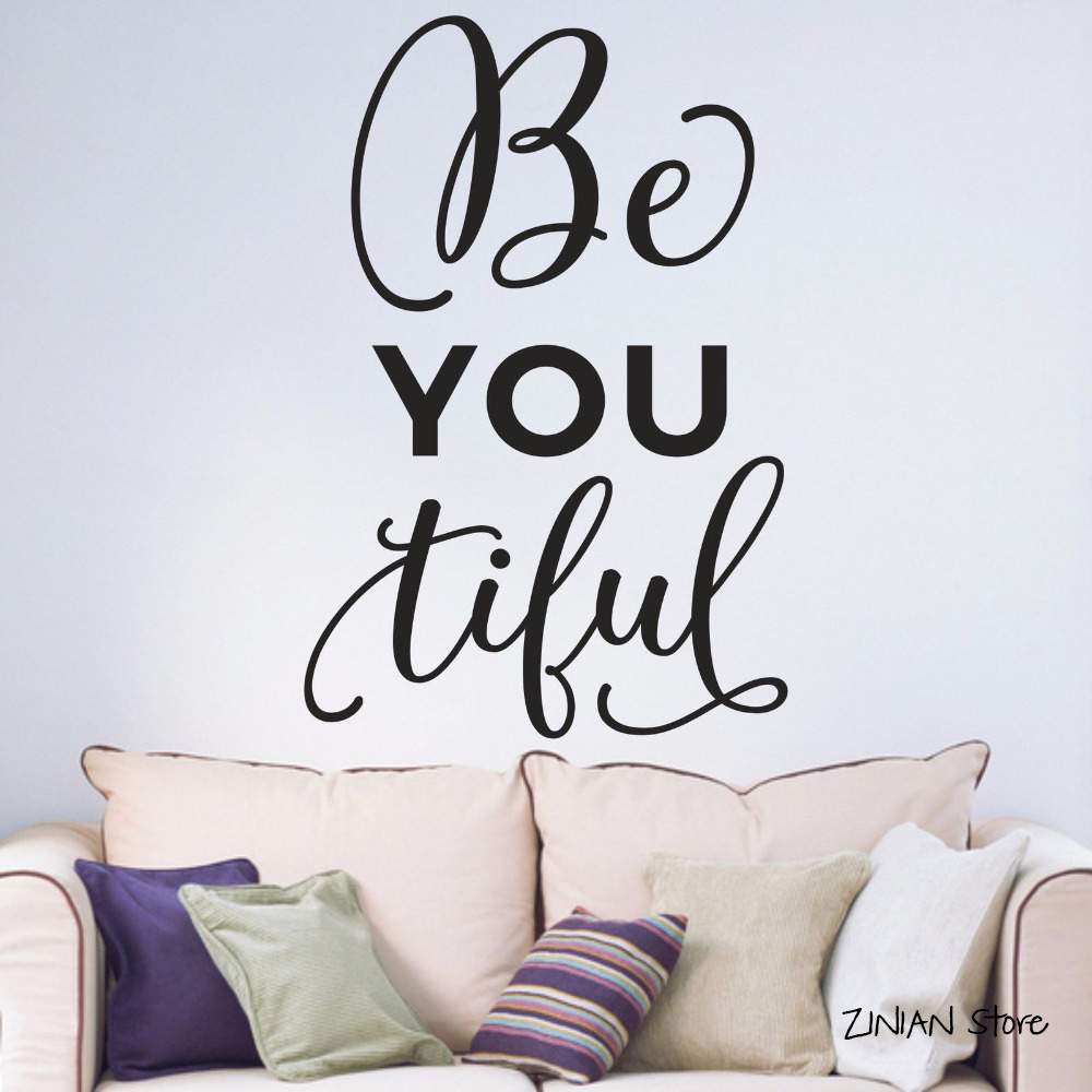 US $4.98 25% OFF|BeYoutiful Inspirational Quotes Wall Decals Motto  Teenagers Bedroom Studying room Bedchamb Vinyl Wall Art Decal Sticker  H278-in Wall ...