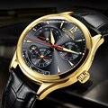 Часы CARNIVAL с дисплеем кинетической энергии  Мужские автоматические механические часы с сапфиром  мужские часы из кожи  водонепроницаемые