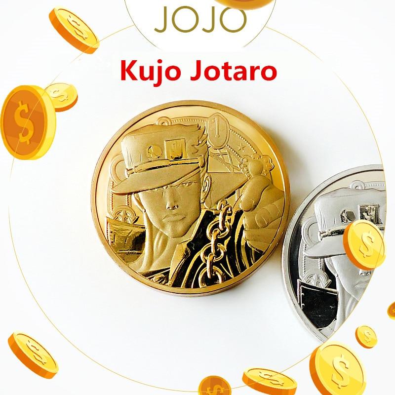 Cartoon JoJo's Bizarre Adventure Kujo Jotaro Cosplay Prop Golden Spirit Sliver Souveni Coin Badge Kids Adult Collection Toy New
