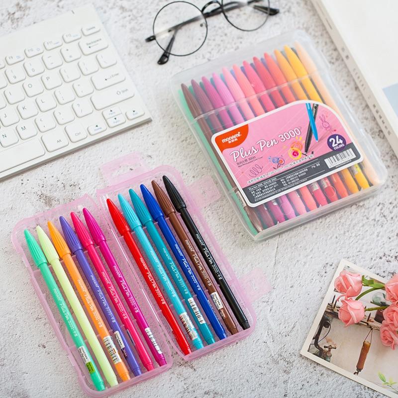 12/24/ 36 Color Gel Pens Monami Plus Pen Korean Stationery Canetas Papelaria Zakka Gift Office Material Escolar School Supplies