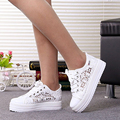 Summer Women Shoes Casual Cutouts Lace Canvas Shoes Hollow Floral Breathable Platform Flat Shoe sapato feminino