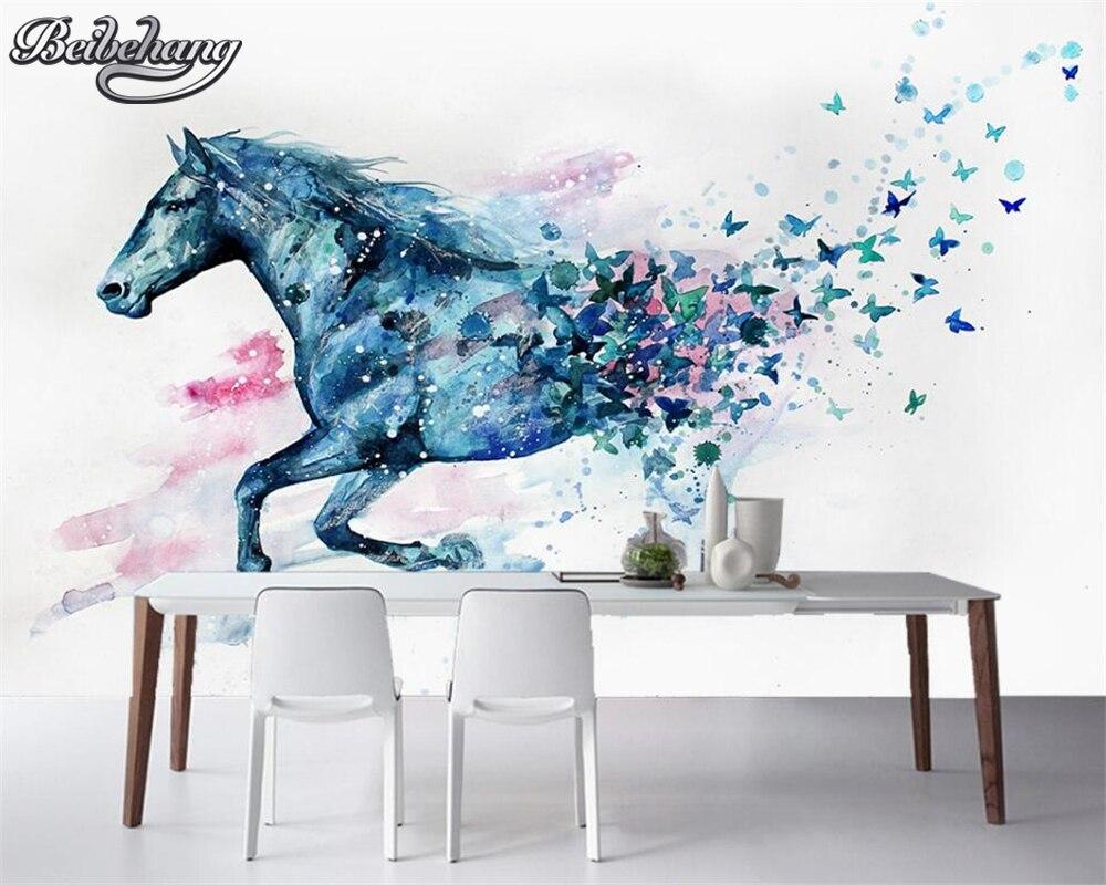 Beibehang wallpaper for walls 3 d Hand painted watercolor horse mural  wallpaper photo 3 d living