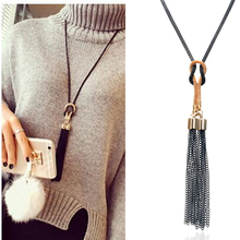 2018 New Arrival Female Pendant Necklace Tassel Long Winter Sweater Chain Necklace Necklace Wholesale Sales цена 2017