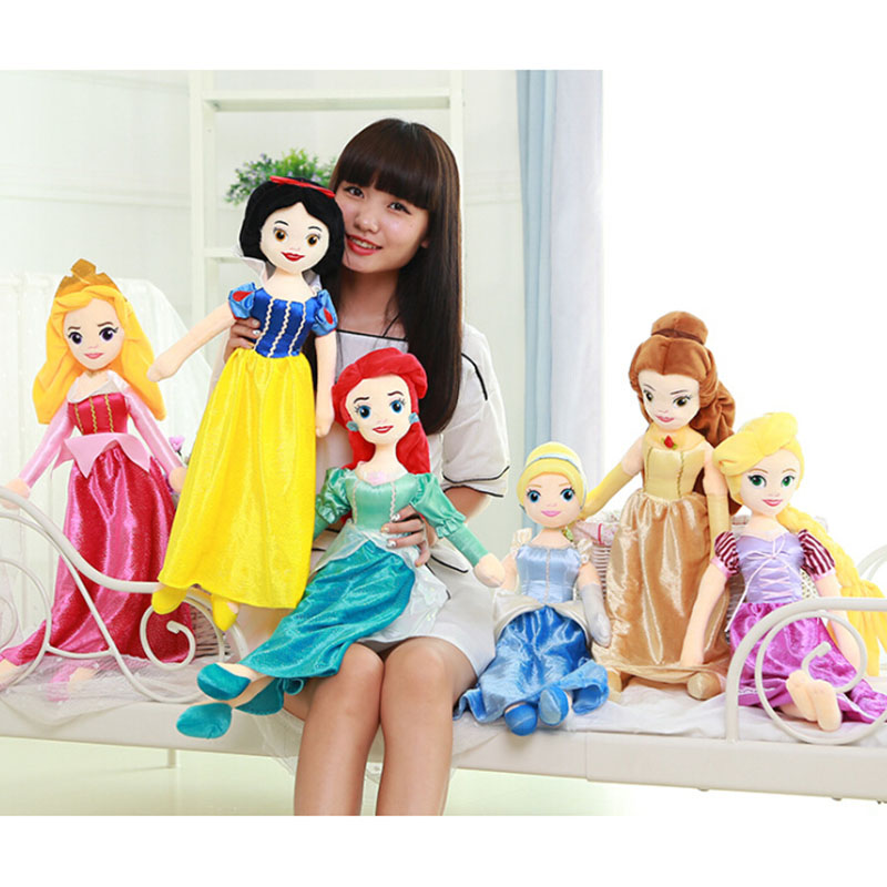 65cm Princess Snow White Cinderella Ariel Belle Rapunzel Aurora Plush Doll Toys Great Gift For Girls disney princess brass key 2003 holiday collection porcelain doll snow white
