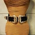 2016 de La Moda Femenina de La Vendimia del Metal de La Correa Pin Hebilla Cinturones De Cuero Diseñador sexy ahueca hacia fuera la correa de cintura ancha elástico Para Las Mujeres