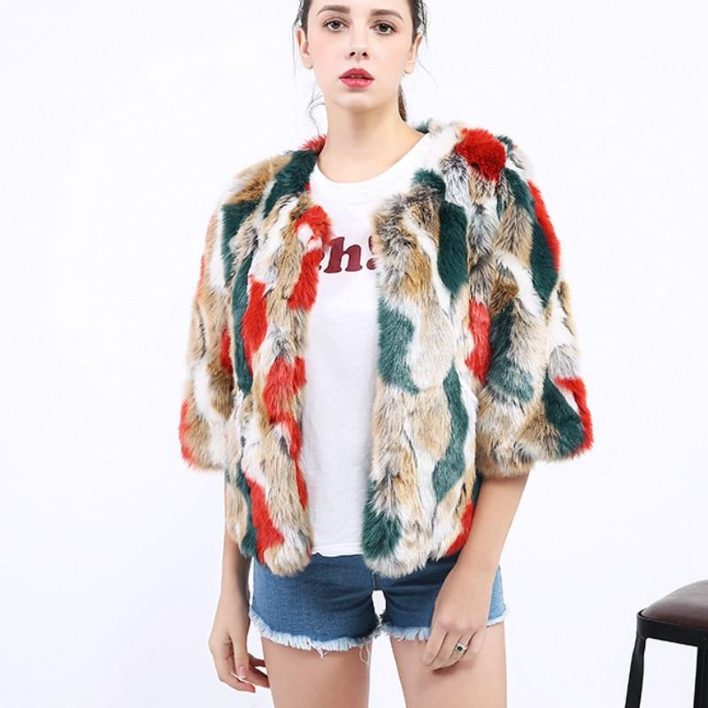 2018 blue Manteau Cardigan Imitation Vison Tops Renard Mixte Hiver Veste Faux Camo Outwear Fourrure Red Lapin Camouflage Camo D'été Bomber Chic Couleur De 1FqF6fTgw