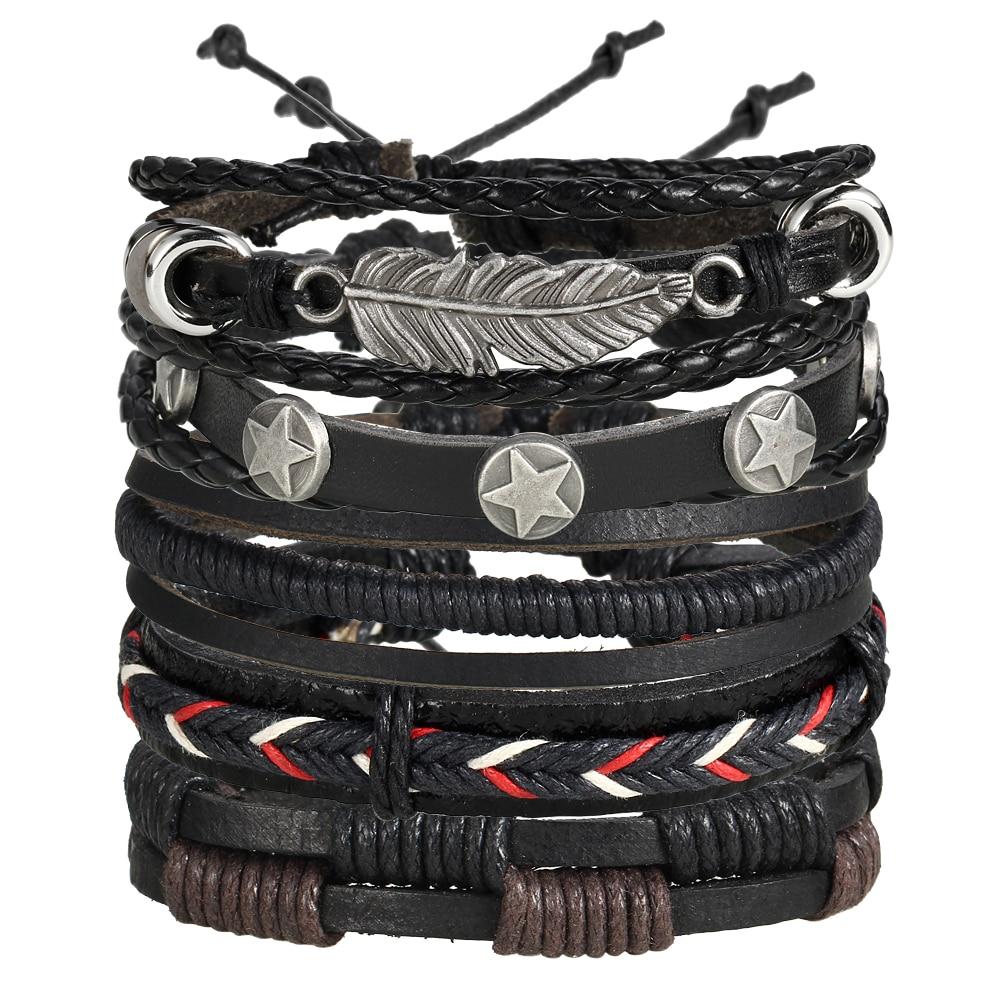 17KM Vintage Multiple Charm Bracelets Set For Men Woman Fashion