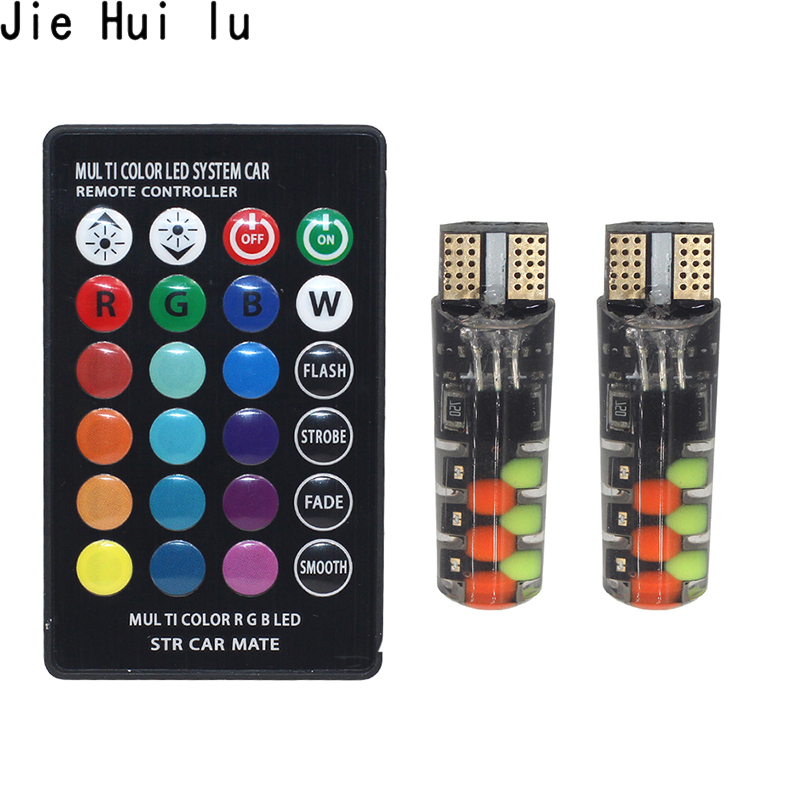 2019 Led W5W T10 RGB Clearance Light New Universal Car RGB COB 12SMDs Colorful Multi Mode Car Light Bulbs With Remote Controller