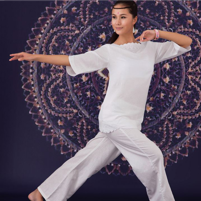 Tradition Cotton and Linen Indian Embroidery Yoga Suit 2Pcs Meditation Set Women large size Yoga Tai Chi Clothing White Color brand 2016 spring summer yoga clothing set cotton linen meditation clothes high quality women buddhist set sports suits kk395 20