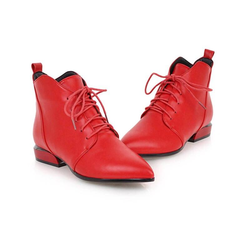 Up Heels Herbst Schwarzes weiß Für Schuhe Winter Frauen Stiefeletten Lace Frau Platz Spitz Warme Mode Größe 33 rot 2018 43 Morazora Stiefel zqaO4w