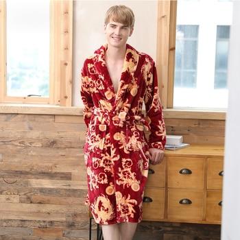 Print Mens Bath Robes Kneen Length Thick Bathrobes Long Sleeve Men Robes Flannel Autumn Winter Mens Robes Da506