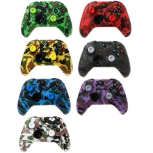 Camouflage Silicone Gamepad Cover + 2 Joystick Caps For XBox One X S Controller plastic silicone joystick caps w anti slip covers for xbox one controller white 2 set