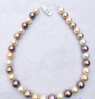 xiuli 002279 AAA++ 100% natural 17 12 14mm round white pink lavender Edison pearl necklace