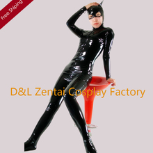 Free Shipping DHL Wholesale Shinny Black PVC Party Halloween Cosplay Costume Sexy Cat Woman Best Fit Sexy Zentai Suits M104