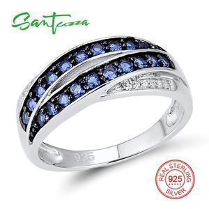 Image 3 - SANTUZZA ensemble de bijoux pour femmes pur 925 argent Sterling bleu Nano cubique zircone pierres boucles doreilles ensemble de bagues délicate Fine bijoux
