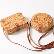 bamboo women bag Rattan crossbody bags for women handbag basket hand-woven Straw round/box shape summer leather mini buckle bags vintage hand woven rattan bamboo japanese style art bamboo women boutique rattan bag handbag tea storage bag a4535