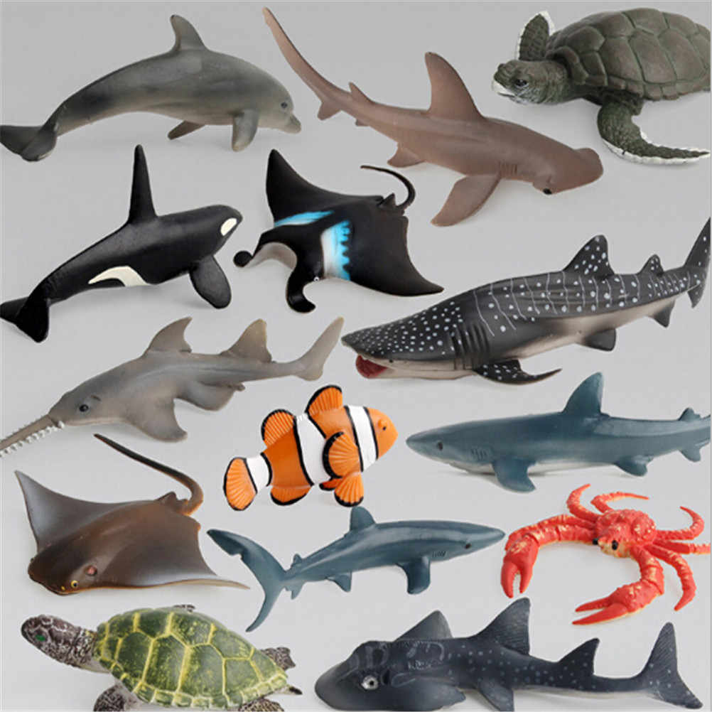 Ocean Sea Life Simulation Animal Model Sets Shark Whale Turtle Crab Dolphin Action Toy Figures Kids Educational Collection Gift