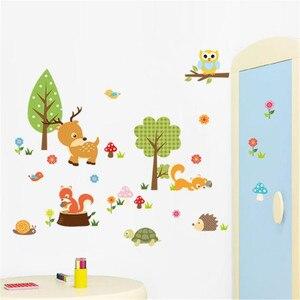 Image 2 - ملصقات جدار لتقوم بها بنفسك الاطفال غابة الحيوانات البومة غرفة الأطفال غرفة نوم خلفية muurلاصقات لرياض الأطفال غرفة ملصقا Duvar