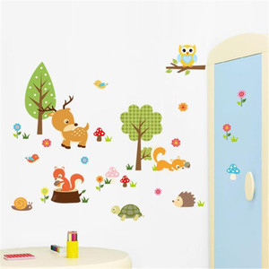 Image 2 - Wall Stickers DIY Kids Forest Animals Owl Childrens Room Bedroom Background Muurstickers Voor Kinderkamers Duvar Sticker Room