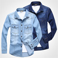 2017 new arrival fashion Spring autumn large 6xl 143cm men's clothing denim shirt cotton long-sleeve plus size XL - 6XL