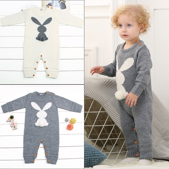 d6d22d1e8 Rabbit Knitted Baby Romper Newborn Boys Girls One Piece Jumpsuits Long Sleeve  Infant Crochet Overalls Thermal Warm Baby Clothes