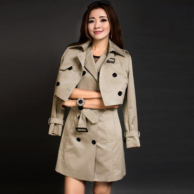 Двойной набор траншеи женщина верхняя одежда 2016 весной и осенью средней длины плюс размер тонкий платье бак пальто набор дамы тренчкот костюм