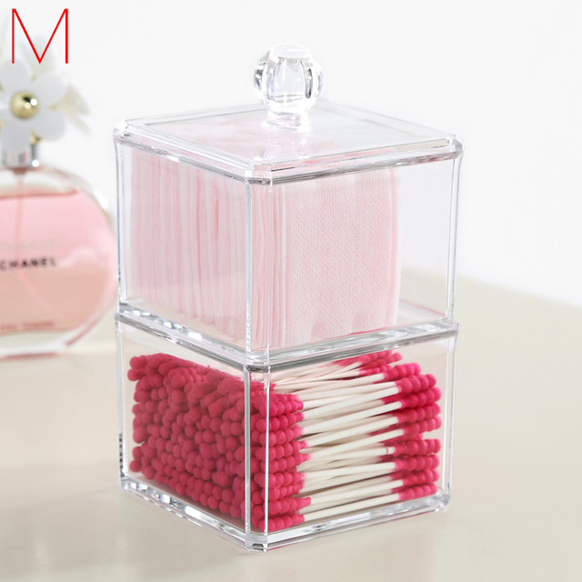 M Acrylic Puff Organizers Clear Makeup Organizer Transparent Cosmetic  Containers Cotton Swabs Storage Cosmetics Accessories C55