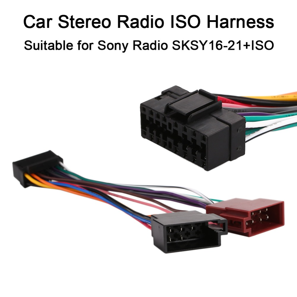 vehemo 16pin car stereo radio harness iso for sony radio sksy16 21 iso radio play plug auto adapter wiring harness connector in cables adapters sockets  [ 1000 x 1000 Pixel ]