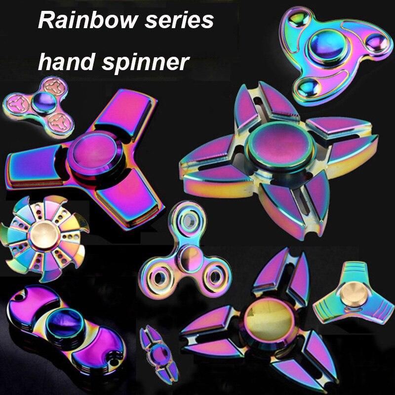 9รูปแบบสีรุ้งชุดโลหะอัลลอยมือ