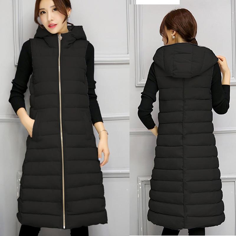 Mulheres de inverno quente colete colete longo das mulheres fino sem mangas jaqueta casacos feminino para baixo coletes com capuz de algodão nova moda roupas