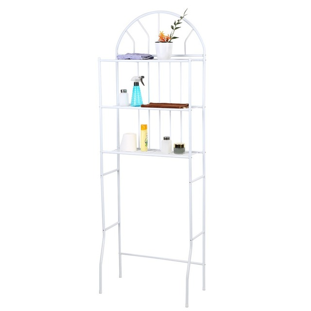 3-Tier Over Toilet Shelf Bathroom Storage Rack Multi-Functional Space Saving Organizer White bathroom shampoo holder
