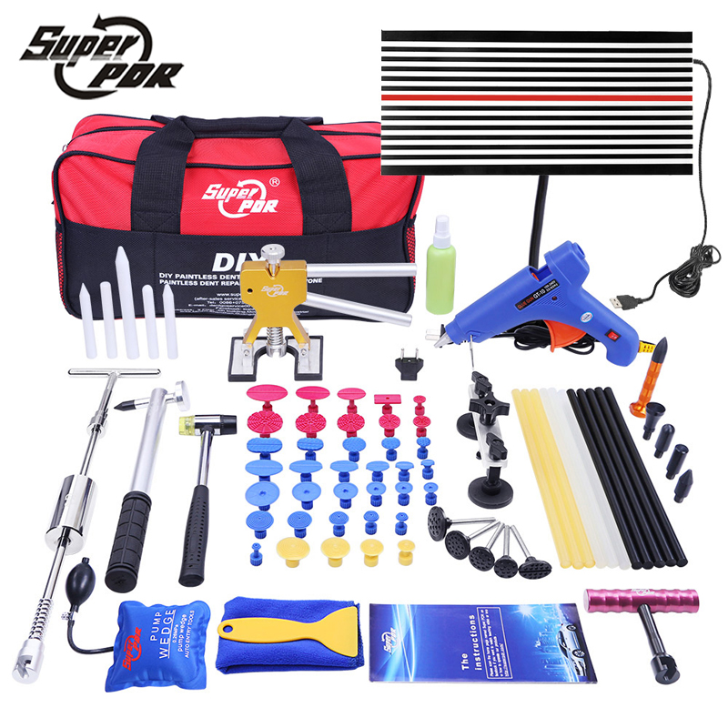 Super pdr paintless dent repair tools pump wedge led lamp reflector board slide hammer hand tool kit