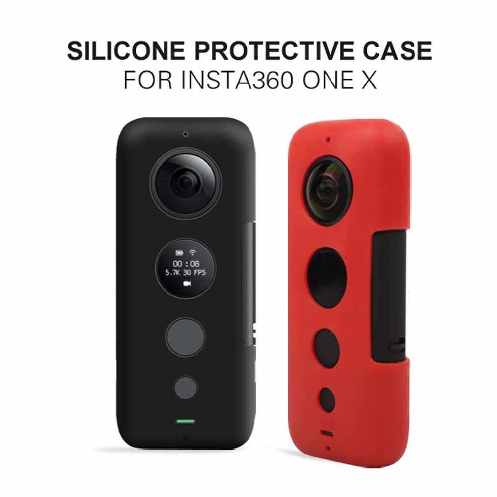 Jinserta insta 360 용 실리콘 피쉬 아이 렌즈 커버 insta 360 one bullet time 파노라마 용 x 스크린 보호 카메라 케이스