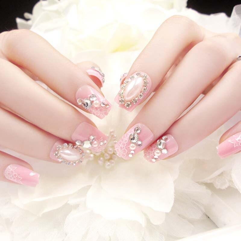 Pink Color Flower Printing Artificial Nails Girls Simulation Pearl Finish Fake Nail Bride Fashion Shining Rhinestone False Nails False Nails Beauty & Health