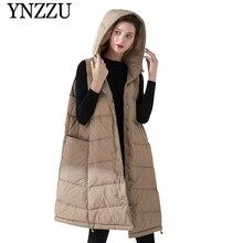 YNZZU 2019 Winter Sleeveless Long Womens Down coat Oversize Solid Hooded  Vest 90% White Duck Outerwear Jacket YO878