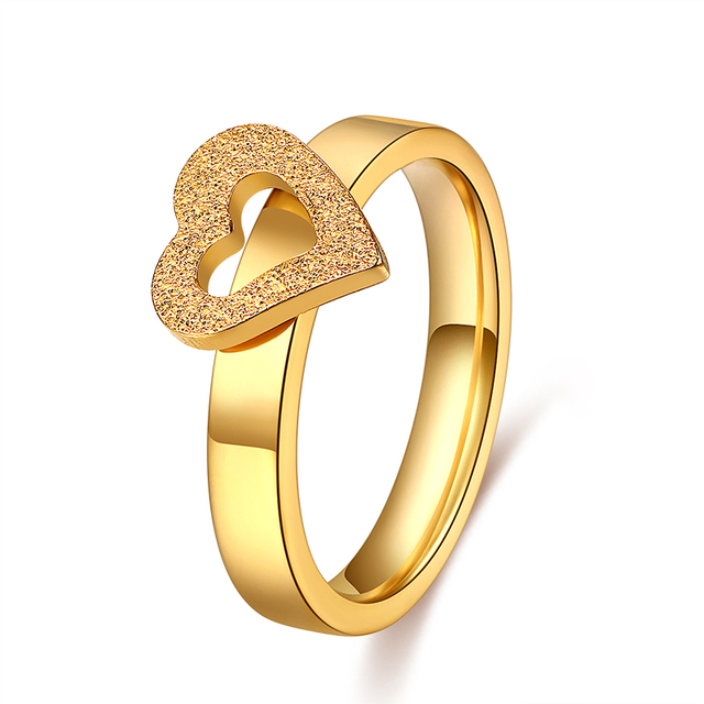 CACANA Titanium Forever Love Heart Ring Stainless Steel Rings For Women Gold Col