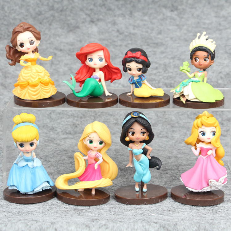 Disney Princess Toys 6-8cm 8Pcs/Set Cute Cartoon Princess Action Figures Mermaid Cinderella Snow White Dolls Models disney princess пупс baby cinderella