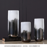 Color material glass vase black and white bright color home living room decoration decoration vase (without flower) LU713541