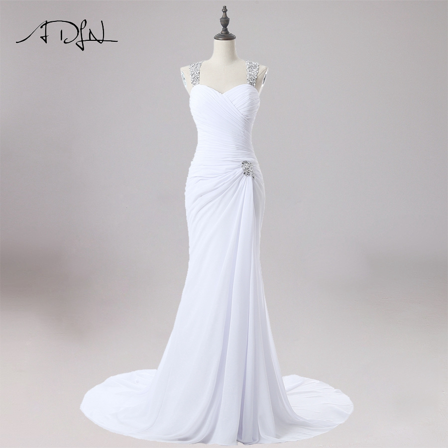 ADLN Sexy Wedding Dress Mermaid Halter Sleeves Beaded Crystals Bridal Gowns Sweep Train Chiffon Dresses Robe De Mariage
