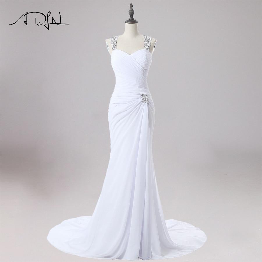 ADLN Sexy Wedding Dress Mermaid Halter Sleeves Beaded Crystals Bridal Gowns Sweep Train Chiffon Dresses Robe De Mariage