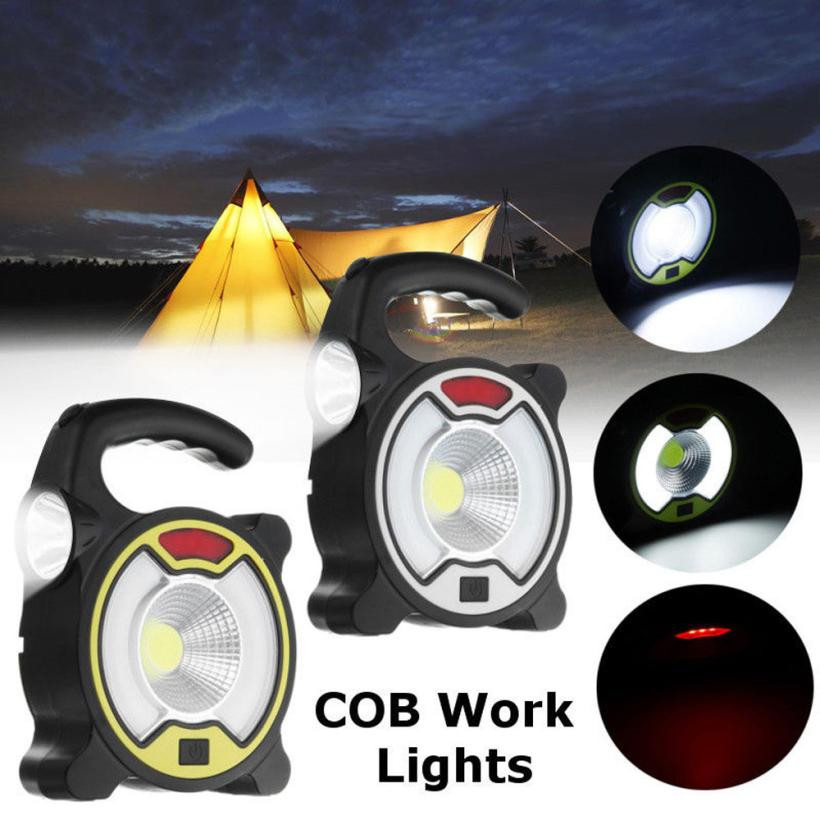 NEW 2 in 1 Portable USB Rechargeable 3 Modes COB LED Camping Tent Lamp Flood Light Outdo ...