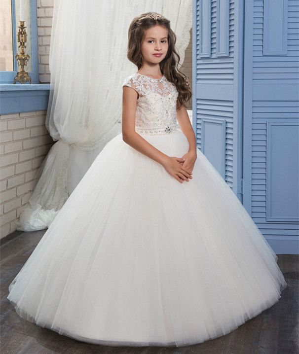 Lace Girls Communion Dresses Appliques O-neck Lace Up Bow Sash Short Sleeve Custom Made Flower Girl Dress Vestidos Longo 2017 new flower girl dresses lace up appliques o neck short sleeves lace up first communion birthday dresses vestidos longo hot