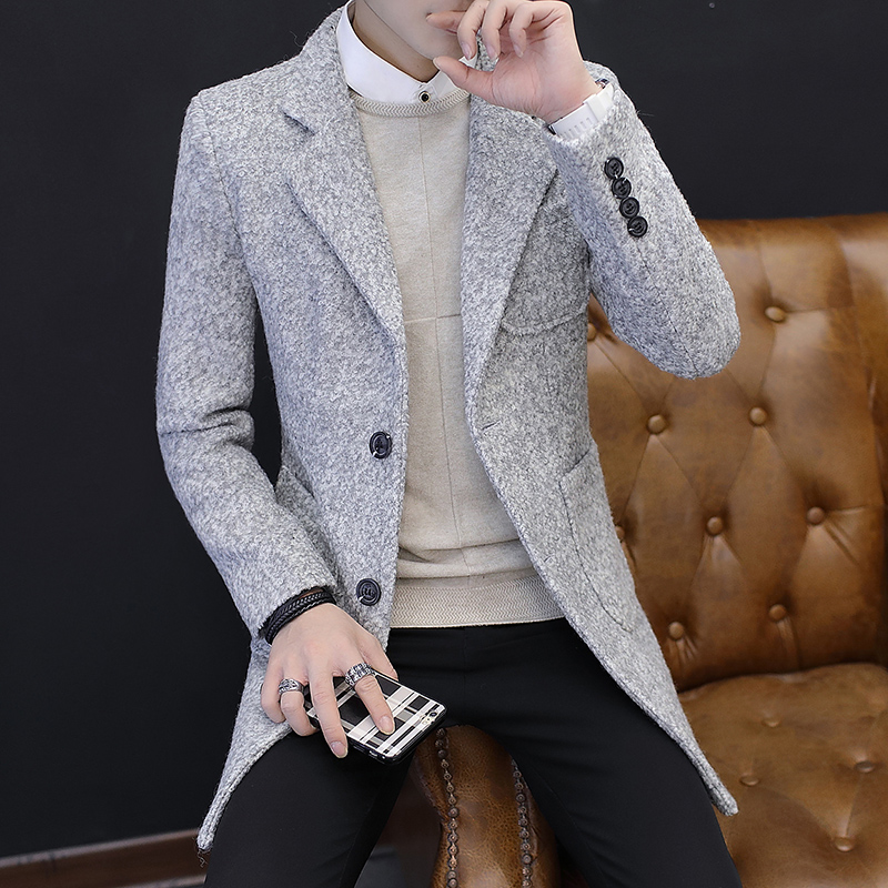2019 Winter New Men's Fashion Boutique Wear Casual Business Wool Long Coat / Mens Overcoats Gray Men's Casual Jackets(China)